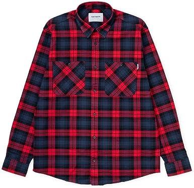 Carhartt I026802 - Camiseta de manga corta para hombre, de franela a cuadros cardinal, color rojo Rosso/Blu M: Amazon.es: Ropa y accesorios