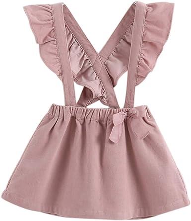 Toddler Kids Baby Girl Suspender Skirt Summer Overall Dress Strap Dress