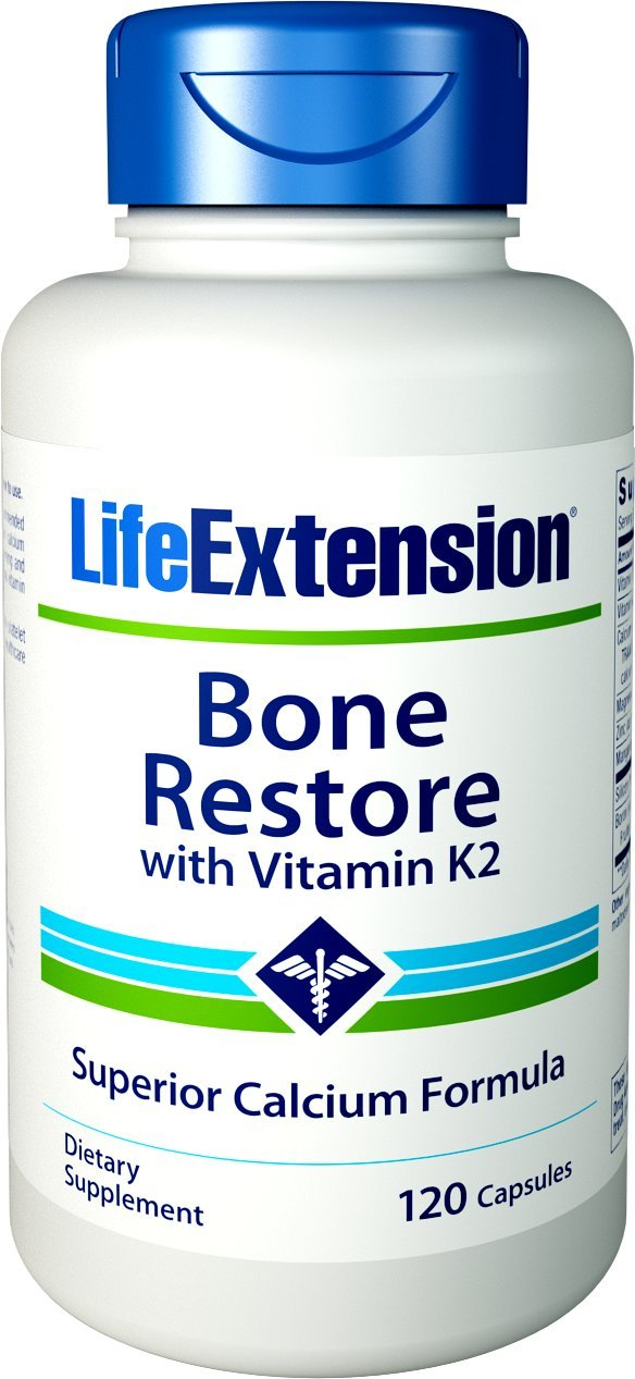 Life Extension Bone Restore with Vitamin K2, 120 Capsules