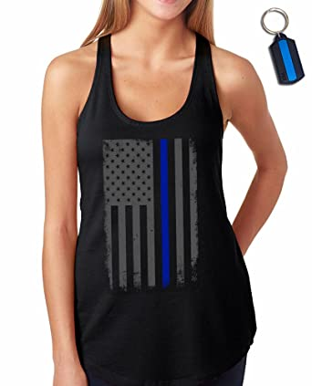 bd5533ba09352a Thin Blue Line Flag Leo Police Support Women s Racer Back Tank Top    Keychain Gift Black