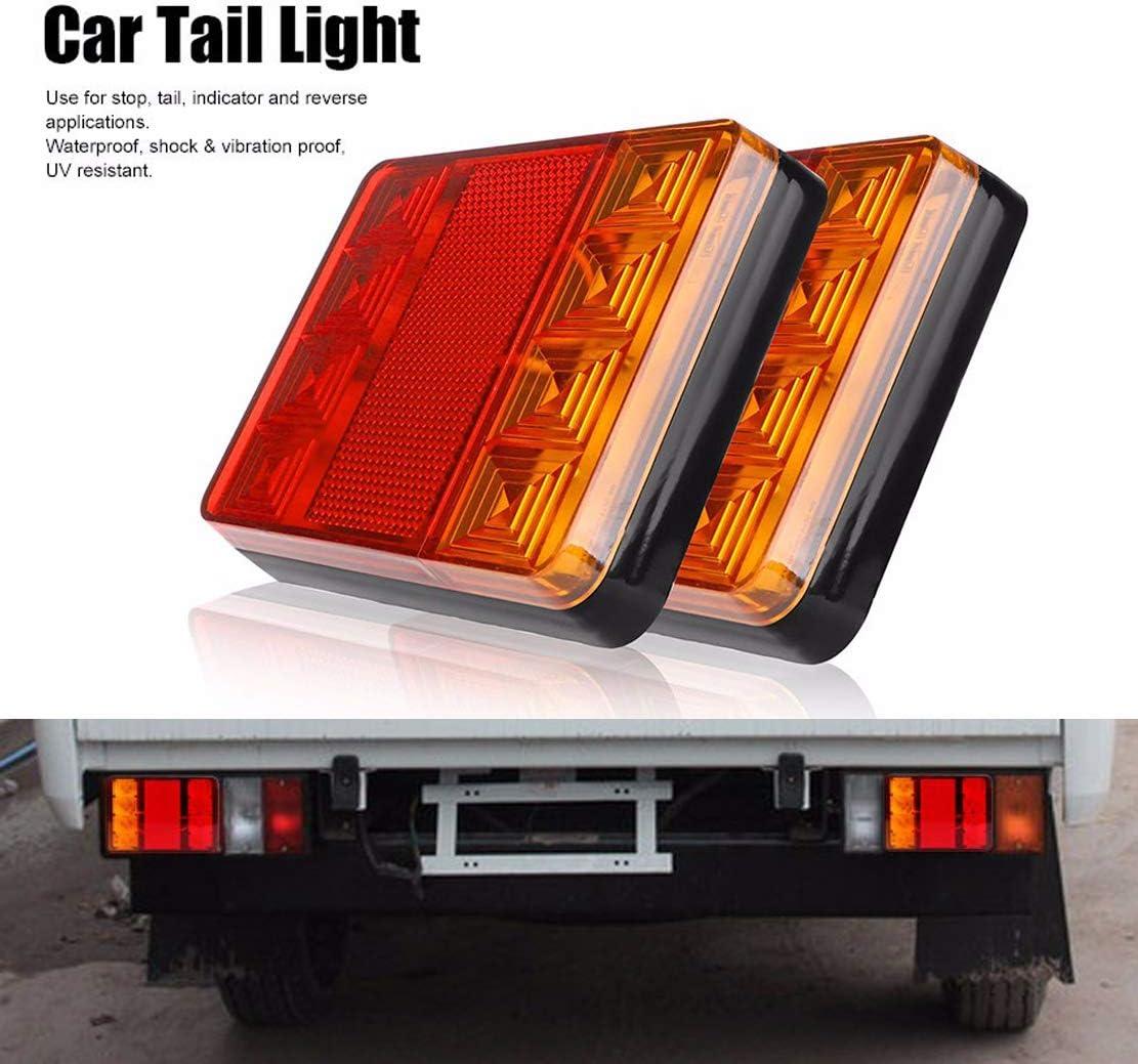 PolarLander 2PCS Imperm/éable 8 LED Feux arri/ère Rouge Jaune arri/ère arri/ère DC 12V pour Camion de remorque Bateau de Voiture Styling Avertissement