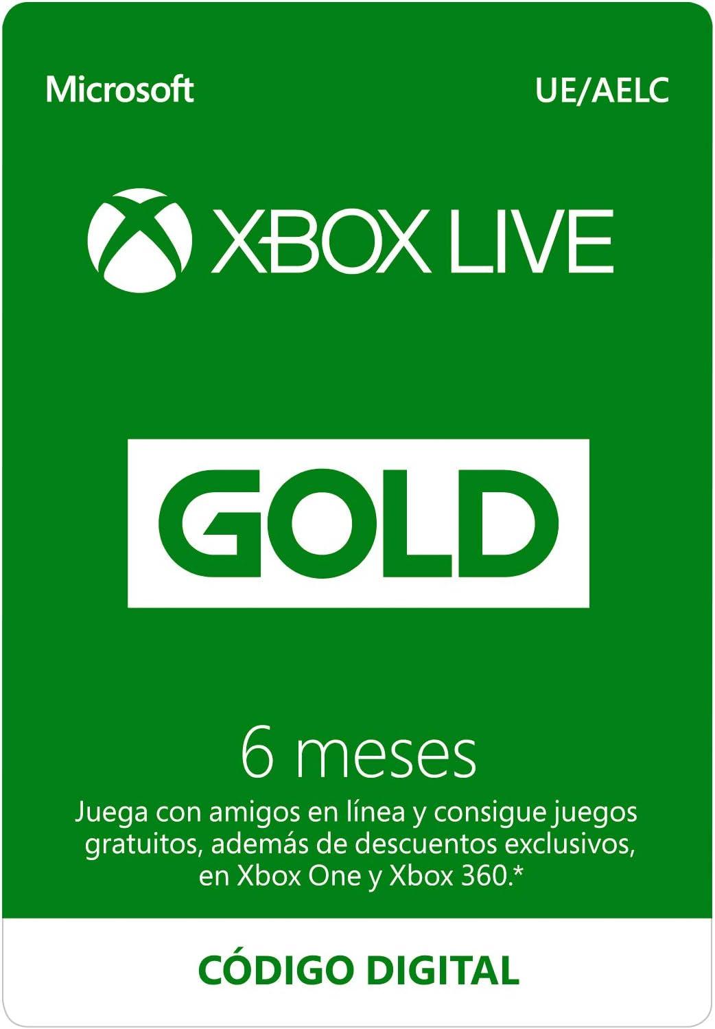 Microsoft Suscripción Xbox Live Gold - 6 Meses | Xbox Live - Código de descarga