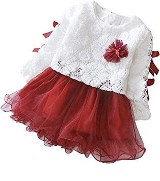Amazon Com Christmas Baby Girls Tutu Dresses Long Sleeves Princess Dress Infant Tulle Dress Toddler Sundress 12 18 Months Red Beauty