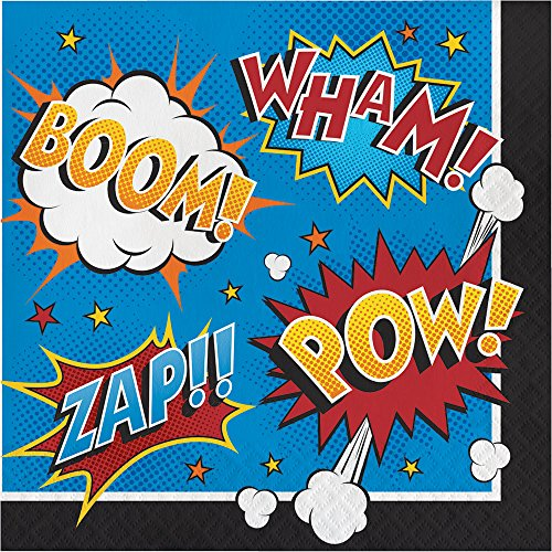 Creative Converting 324837 192 Count Lunch Paper Napkins, Superhero Slogans - 56134B