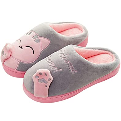 e9db41ba1a772 JIANKE Women Cute Cat Slippers Indoor Winter Warm Plush Slippers Soft House  Shoes Men Grey 3