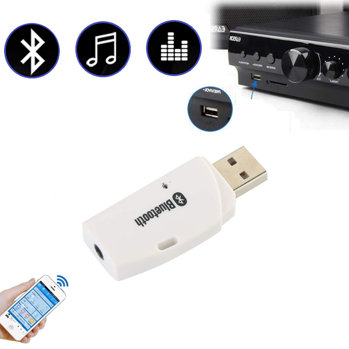 USB Bluetooth Receiver Music Audio Dongle+ 3.5mm AUX to USB Adapter Car& Speaker Random Color HA-01