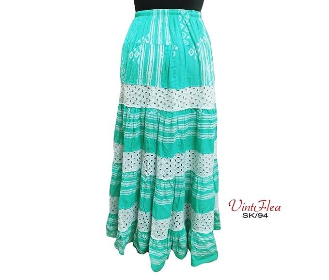 vestido abrigo verde indio falda larga 100% tela de algodón faldas ...