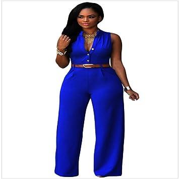 IMJONO. Frauen Soild Set Bodycon Party Jumpsuit Hosen Clubwear Mit Gürtel  (Blau, S 28d6d67b3e