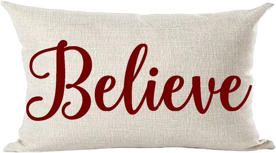 Amazon Com Ramirar Happy New Year Merry Christmas Claret Wine Red Word Believe Inspirational Decorative Lumbar Throw Pillow Cover Case Cushion Home Living Room Bed Sofa Car Cotton Linen Rectangular 12 X 20