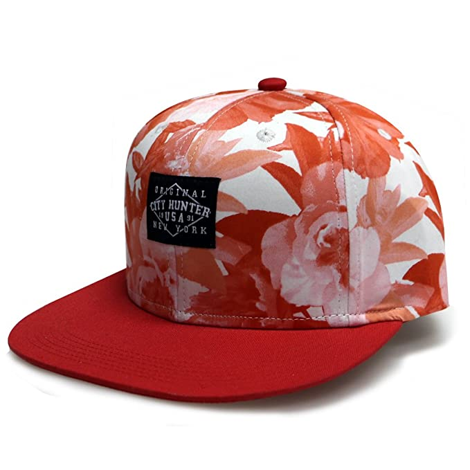 City Hunter Cf2121 Water Flower Snapback Hats - Red at Amazon Men s ... 1f288c33dcd4