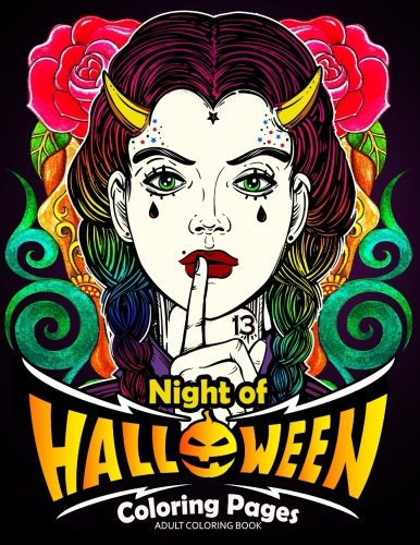 Adults Coloring Book: Night of Halloween Coloring (Coloring Pages For Halloween Cats)