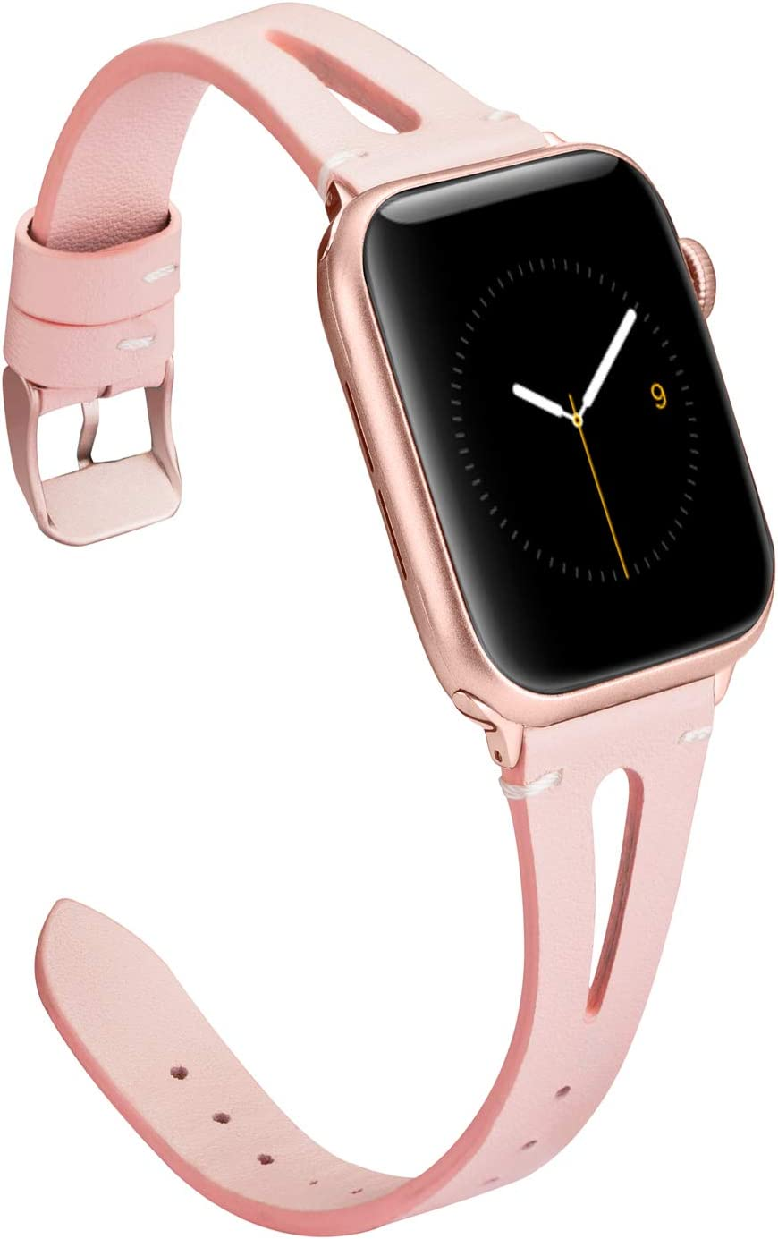Wearlizer Womens Rose Pink Leather Compatible with Apple Watch Bands 42mm 44mm for iWatch Special Triangle Hole Strap Wristband Sport Replacement Bracelet (Metal Rose Gold Buckle) Series 5 4 3 2 1