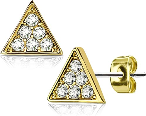 Buyless Fashion Girls Triangle Stud Earrings Hypoallergenic Steel In Gift Box