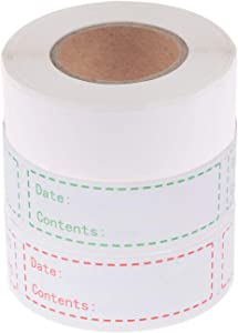 900 Pieces Removable Food Storage Labels Freezer Labels 1x3in Food Storage Stickers Refrigerator Freezer Labels Adhesive Paper Labels(3 Rolls, Red, Green, White)
