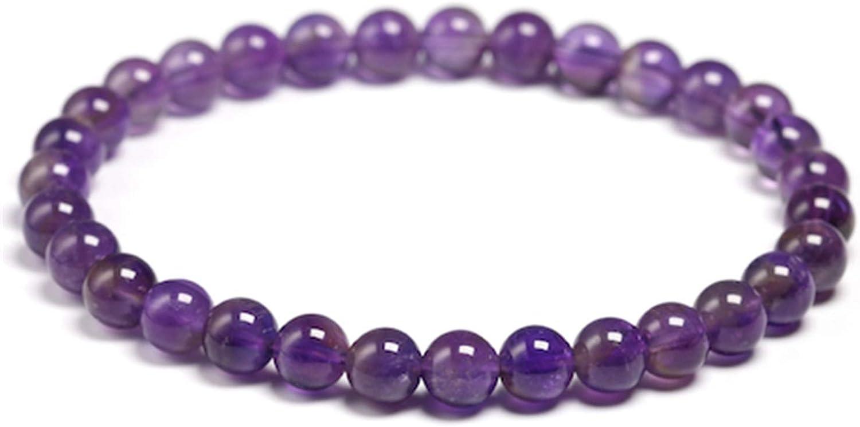 Sunwd Cuentas Pulsera,Brazalete Natural Amethyst Bracelet Women Couple Natural Stone Bracelet Purple Quartz Bracelets 6 8 10Mm Bead Bangles Jewelry Gifts