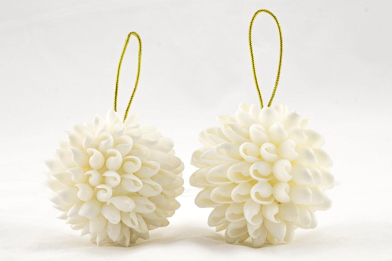 Beach Themed Christmas Ornaments.Amazon Com White Bubble Shell 3 Ball Ornament Hanging