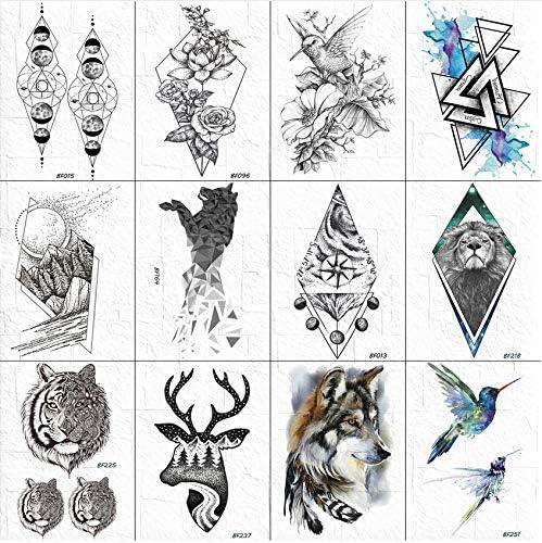 3D Tatuajes Geométricos Temporales Mujeres Cuerpo Brazo Pecho ...