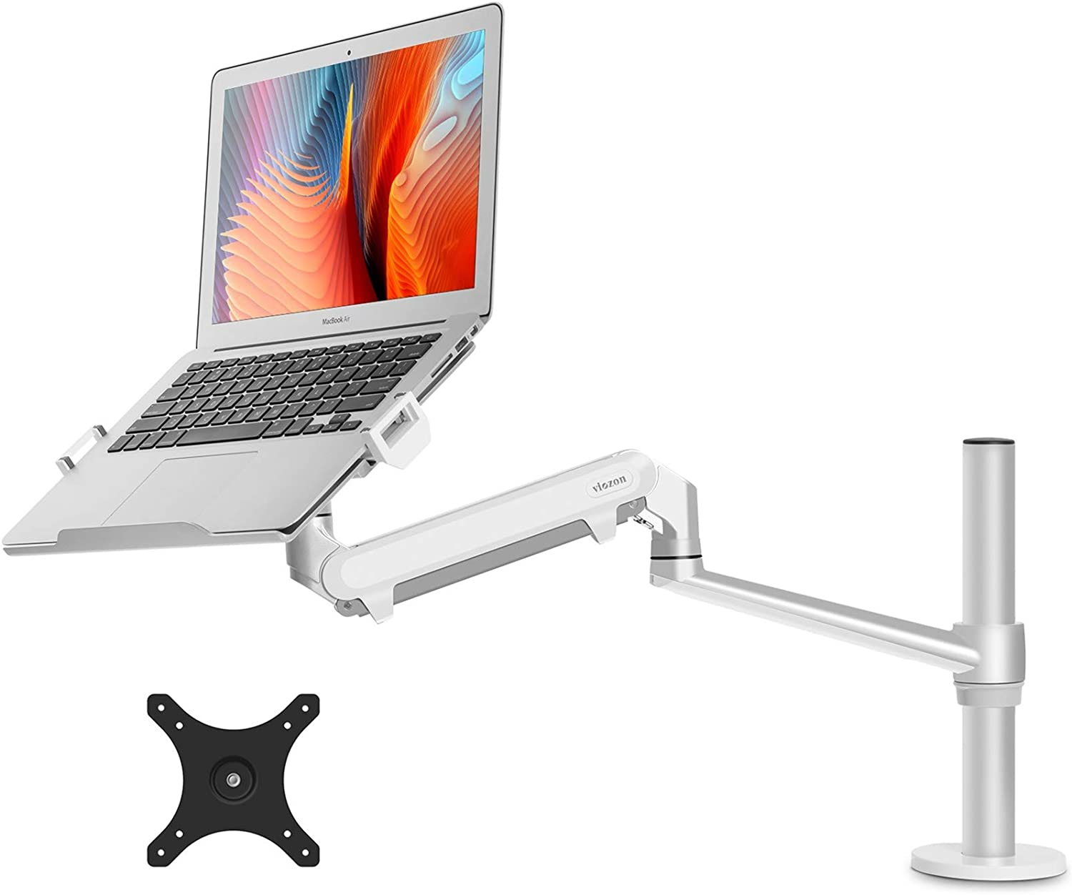 "viozon Monitor or Laptop Mount, Single Gas Spring Arm Desk Stand/Holder for 17-32"" Computer Monitor, Extra Laptop Tray Fits 12-17"" Laptops/Notebook(1S-PlusS)"