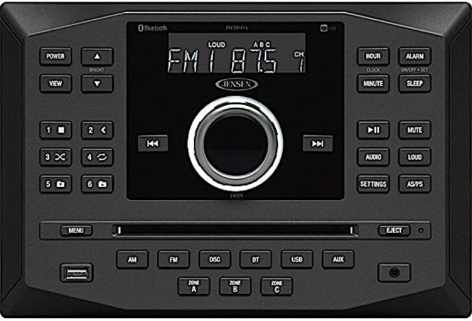 Jensen JWM60A AM FM DVD CD USB AUX App Ready Bluetooth Wallmount Stereo with App Control