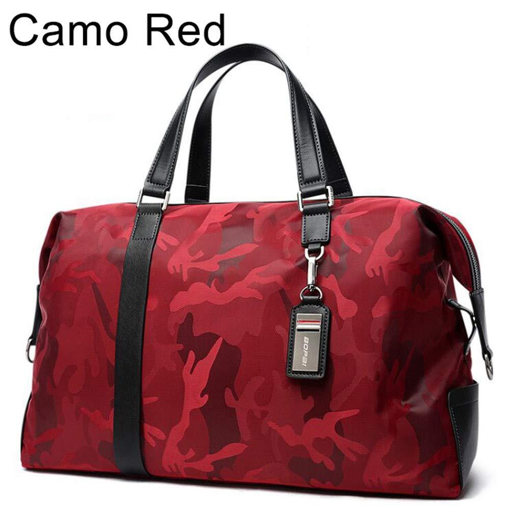 Men Travel Bag Large Capacity Shoulder Travel Bags Luggage Female Waterproof Handbag Camo Red