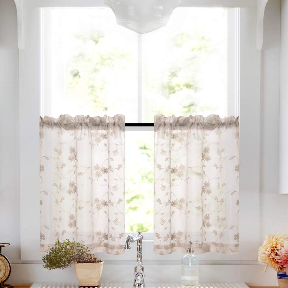 Lazzzy Tier Curtains Taupe Kitchen Cafe Floral Embroidered Sheer Window Curtain Set Voile Floral Drapes Rod Pocket Panel Pairs W26 x L36-Inch 1 Pair