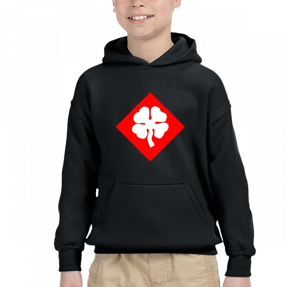 4 Leaf Clover Personality Hooded Pocket Sweater for Children Spring//Autumn//Winter Outfit Long-Sleeved Hoodie
