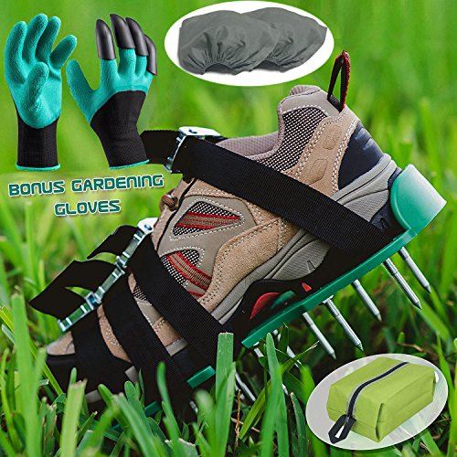 Lawn Aerator Spiked Shoes,Aeration Spike Sandals with 4 Adjustable Heavy Duty Straps with Metal Buckles for Effective Tool for Aerating Lawn Soil and Greener Yard or Garden,One size fits all,Garden Gl by Zinger