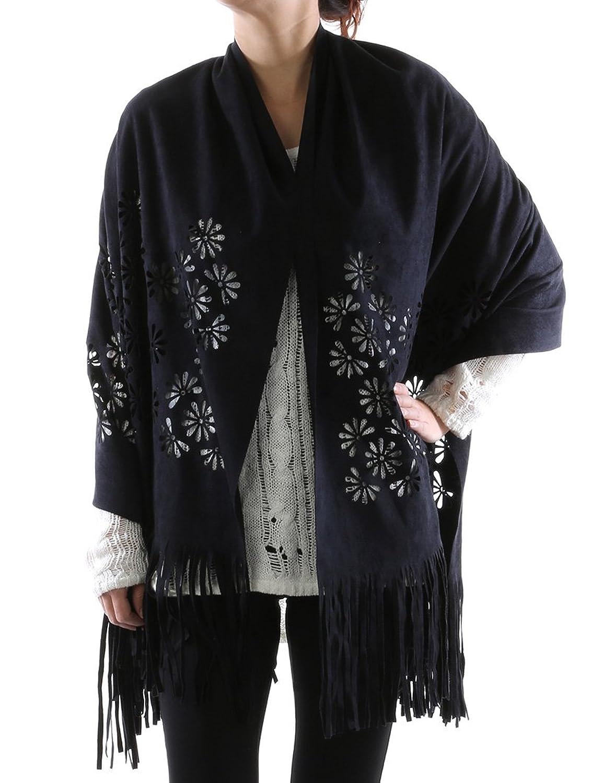 Parisian Chic Scarf Floral Pattern Cutout Suede Feel Shawl Fringe X One Size black