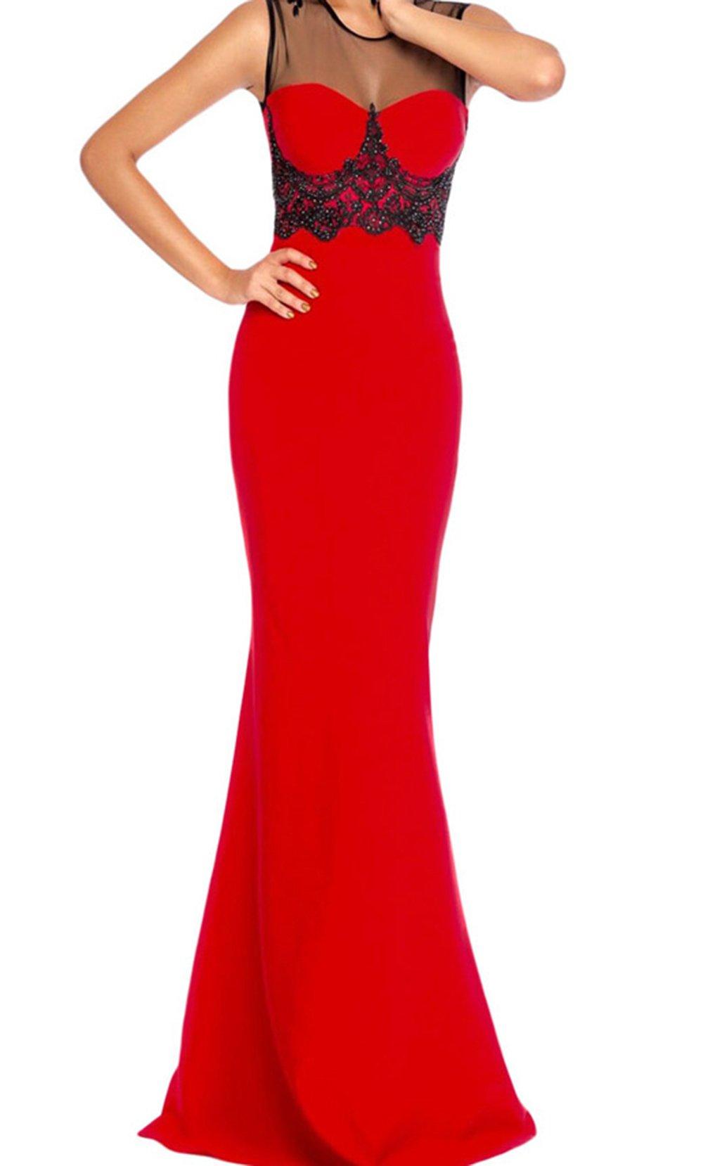 YeeATZ Mesh Splice Beaded Red Evening Dress(Red,M) by YeeATZ