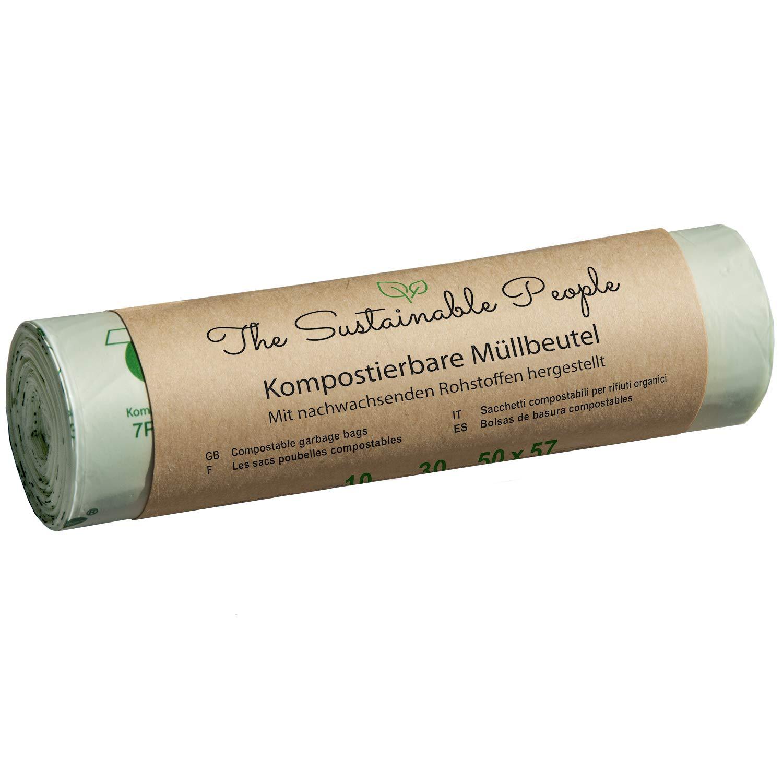 TSP Bolsa de basura biológica 20 litros - 70 Segura, reissfeste bolsas de residuos - OK Compost Home certificada - 100% de hogar Compostable y biodegradable ...