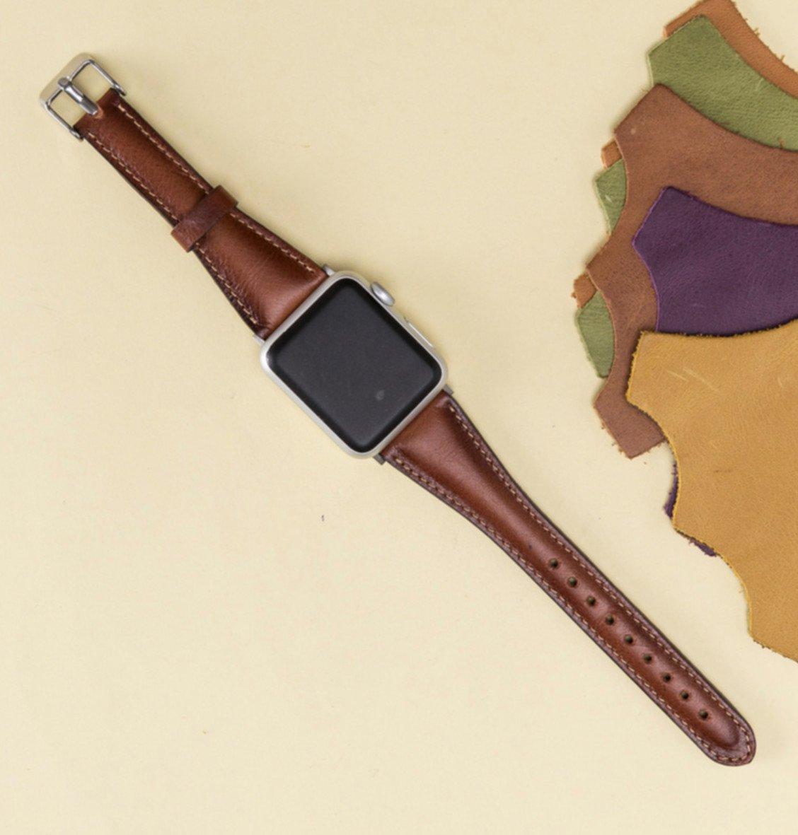 Apple Watch Band for Women, 38mm, 42mm, Brown iWatch Leather Band, Thin Feninine Aplle Watch Band, Genuine Leather Apple Watch Strap