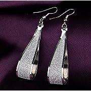 Fashion Women's Silver Crystal Scrub Water Drop Dangle Earrings Party Jewelry Gift