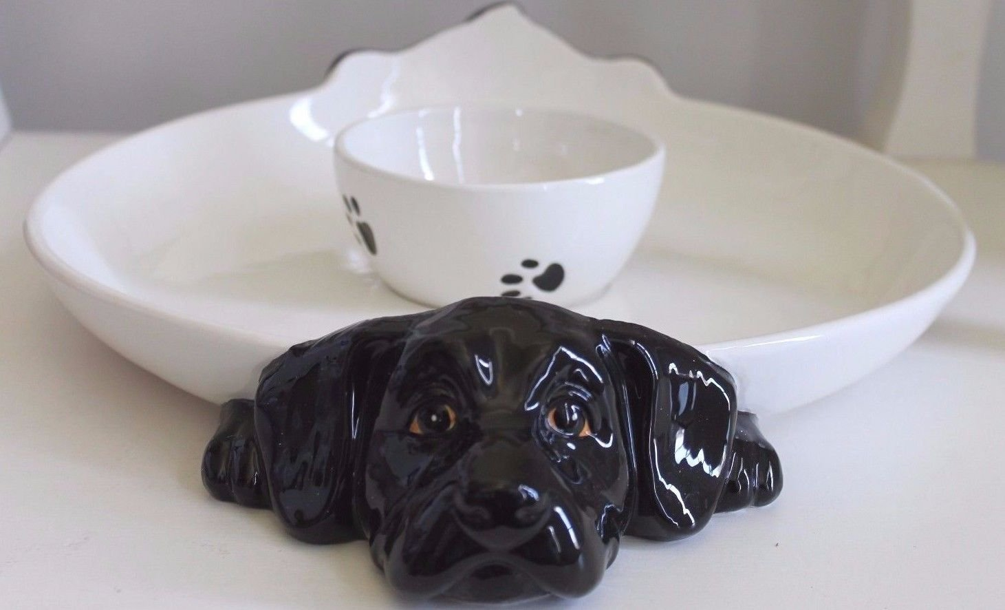 BIG SKY CARVERS BIG SKY CANINE BLACK LABRADOR RETRIEVER DOG CHIP N' DIP SERVING TRAY RETIRED