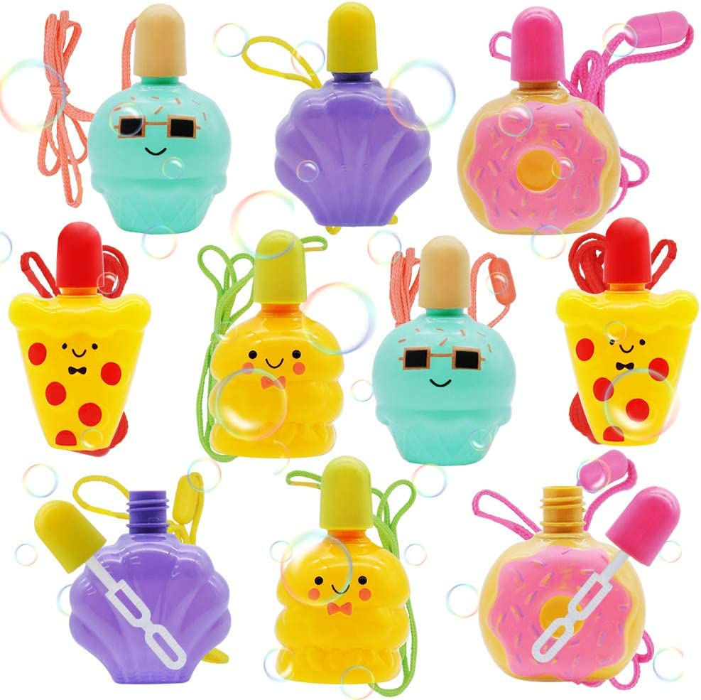 JOYIN 10 Bubble Wands with Food Donuts Bubble Bottle Solution (1.5 Fl Oz Each) Bubble Necklace for Kids, Summer Bubble Party Favors Supplies, Outdoors Activity, Birthday, Easter, Bubble Blower Toy