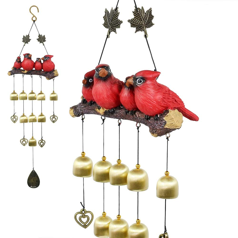 Monsiter Wind Chimes with Birds Decoration Outdoor Garden and Home Decor - Red