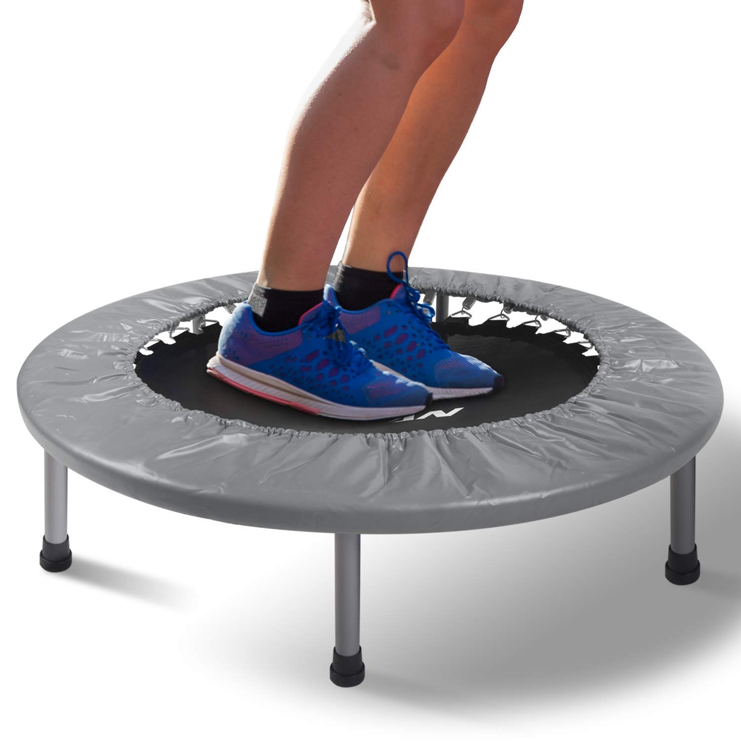 BCAN 38'' Mini Fitness Trampoline, Cardio Trainer with Safety Pad, Quiet & Stable Exercise Rebounder for Kids Adults Indoor/Garden Workout Max 300lbs - Grey