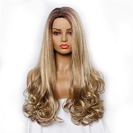 Modaworld Pelucas Mujer Pelo Natural Largo Cabeza sobre pelucas de pelo largo y rizado