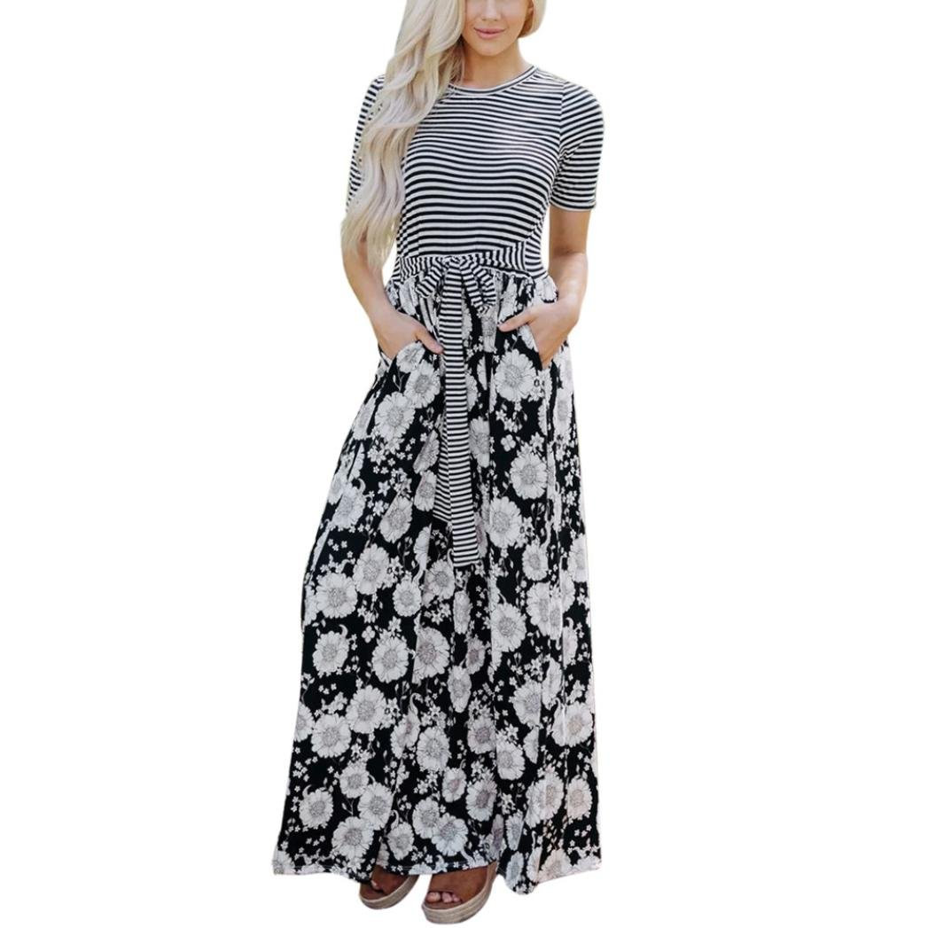 Kinrui Women's Casual Floral Printed Tank Pocket Short Sleeve Summer Long Party Maxi Dress (Black, M)