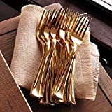 easy spoon - 180 Pieces Disposable Plastic Flatware Utensils Set: Easy Life Creations Fork, Spoon and Knife Home Kitchen Cutlery Silverware - Modern Gold Dinner and Party Kitchenware Forks, Spoons and Knives