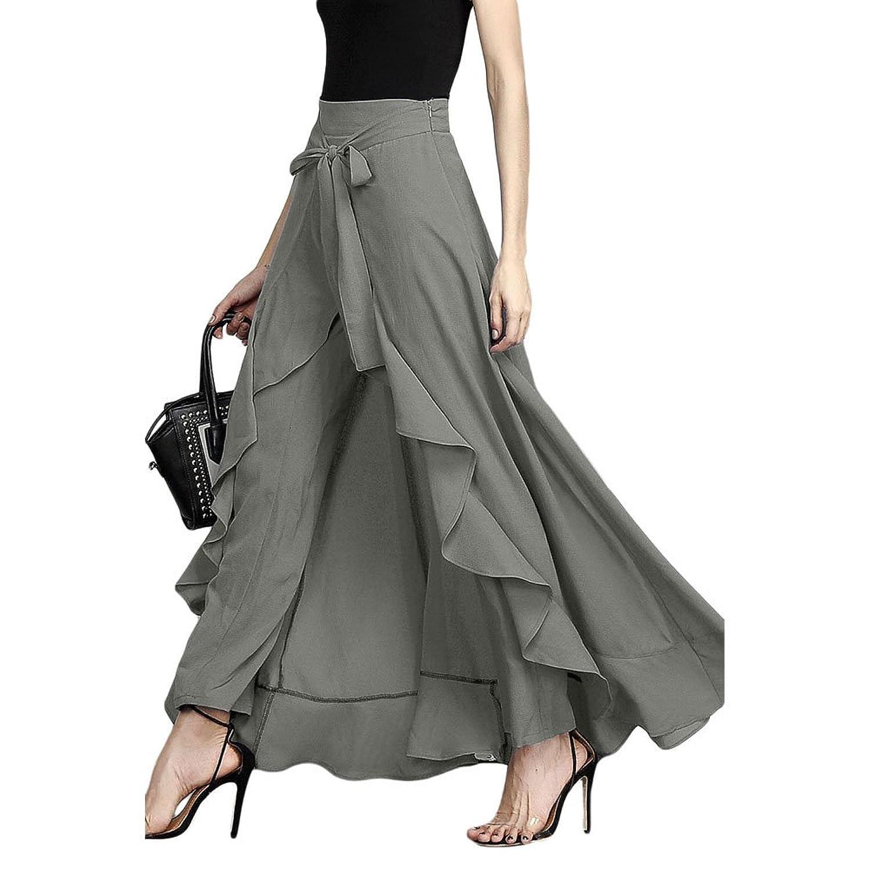 MuCoo Women's Solid Ruffle Wide Leg Tie-Waist Maxi Long Chiffon Palazzo Overlay Pant Skirts