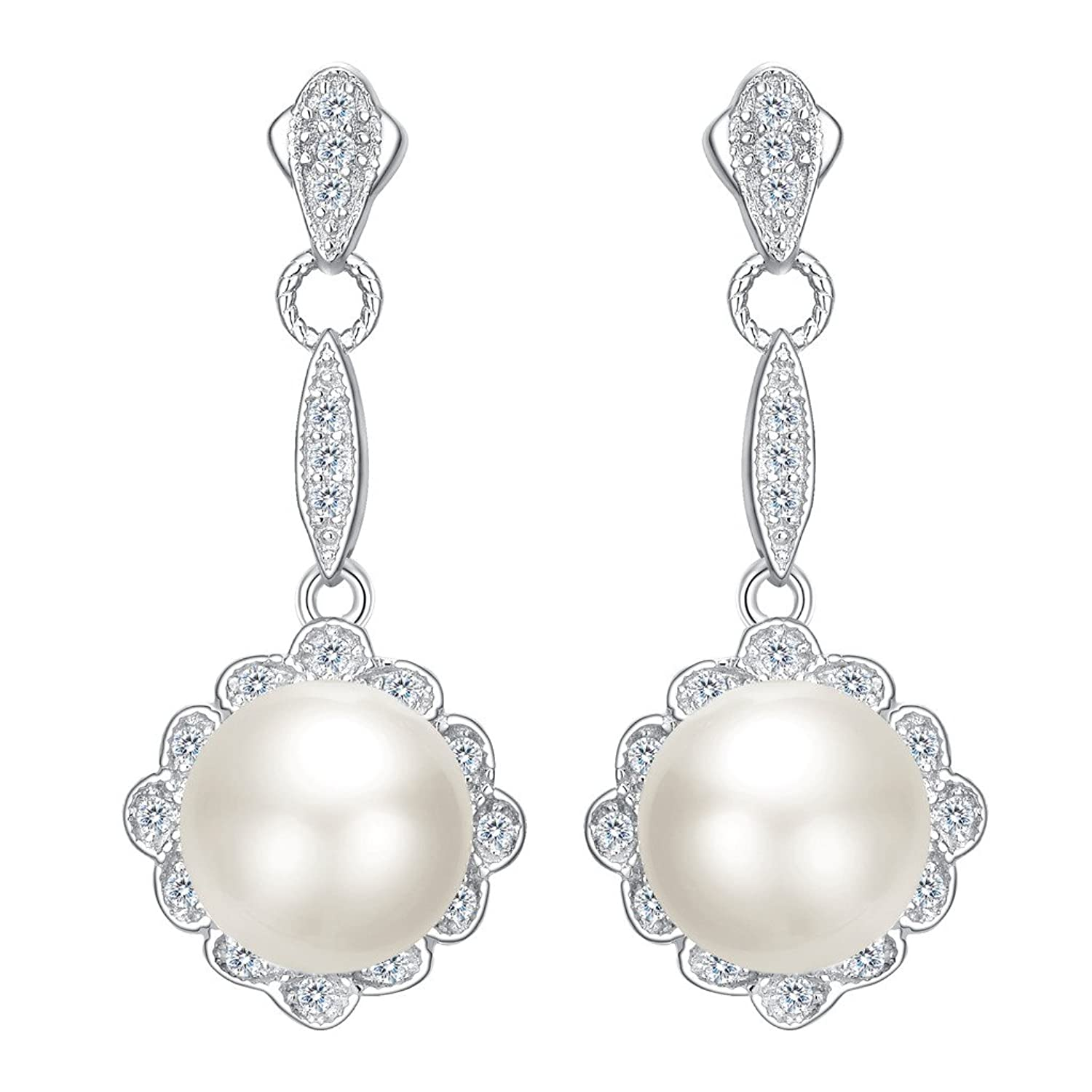 EVER FAITH 925 Sterling Silver CZ 9MM AAA Freshwater Cultured Pearl Elegant Floral Dangle Earrings Clear