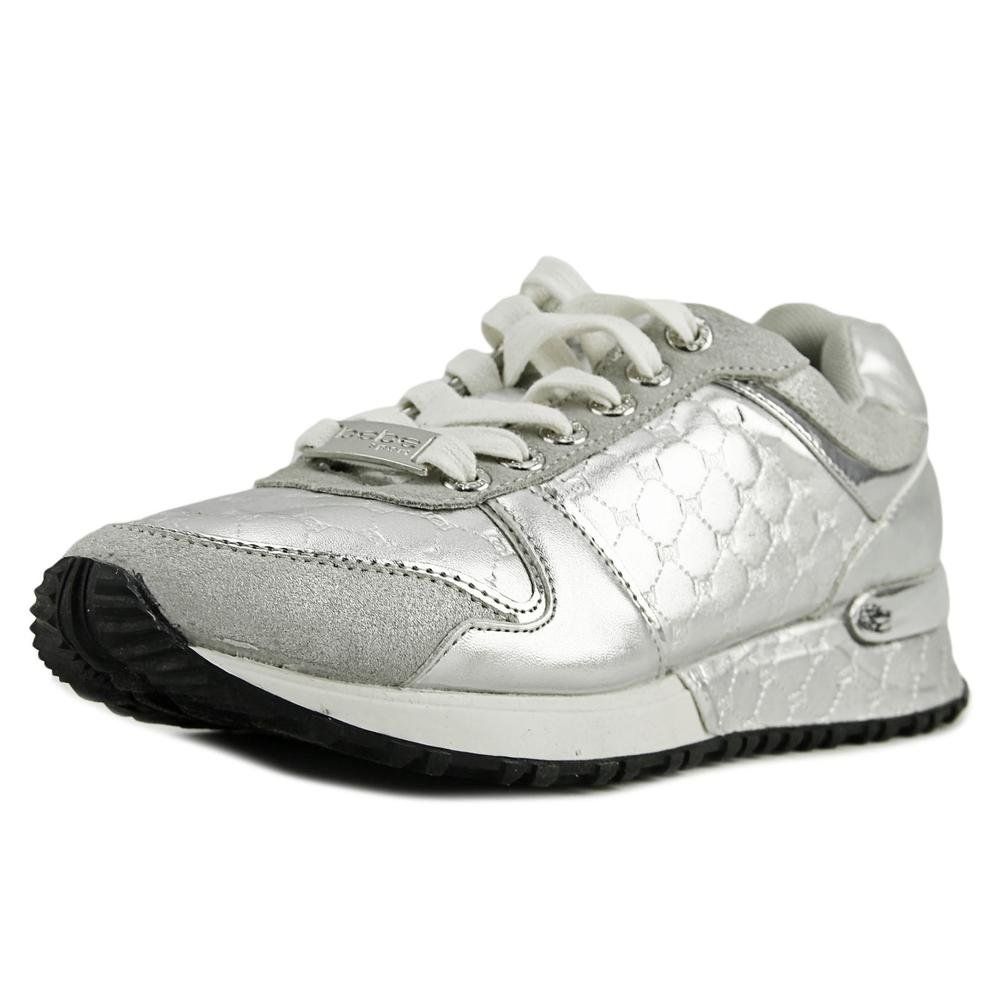bebe Womens Racer Leather Low Top Lace up Fashion Sneakers, Silver FX, Size 9.5