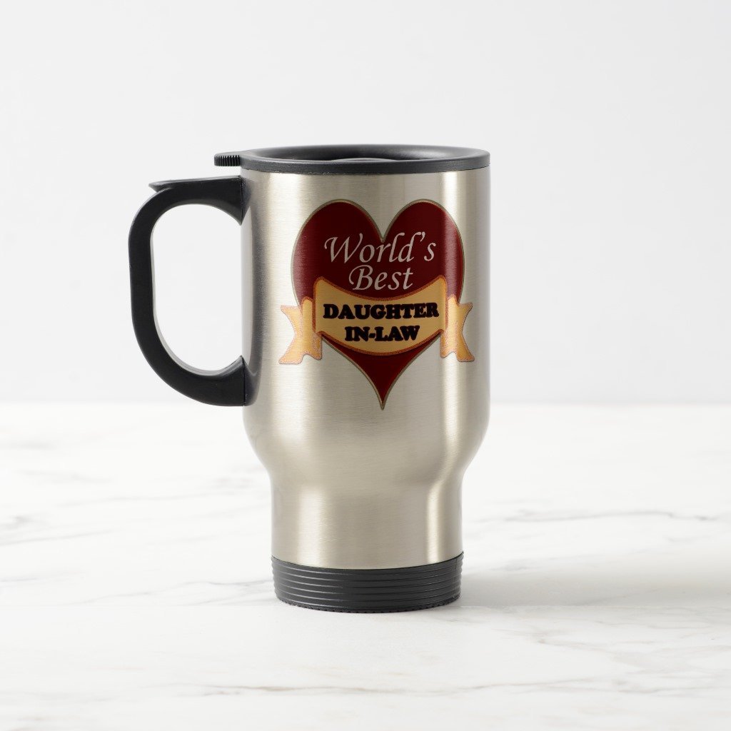 Zazzle World's Best Daughter-in-law Mug, Stainless Steel Travel/Commuter Mug 15 oz
