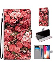 Miagon Full Body Case for iPhone XS/X,Colorful Pattern Design PU Leather Flip Wallet Case Cover with Magnetic Closure Stand Card Slot,Rose Flower