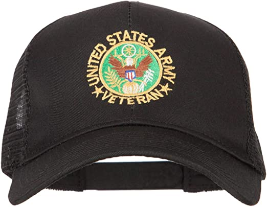 US Army Veteran Circle Embroidered Solid Cotton Mesh Pro Cap