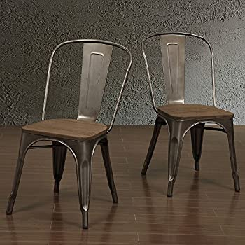 Amazon Com Tabouret Vintage Wood Seat Bistro Dining Chair Chairs
