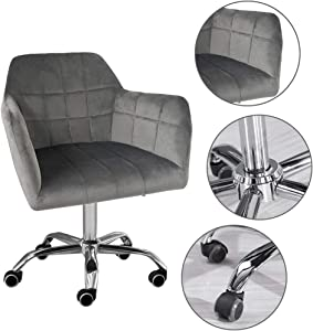 Sinerixc Home Office Chair,Modern Fashion Chair,Mid-Back Task Chair Upholstered Swivel Desk Chair,with Armrests & Backrest,Ergonomic Executive Chair for Office,Home,Computer,Gray