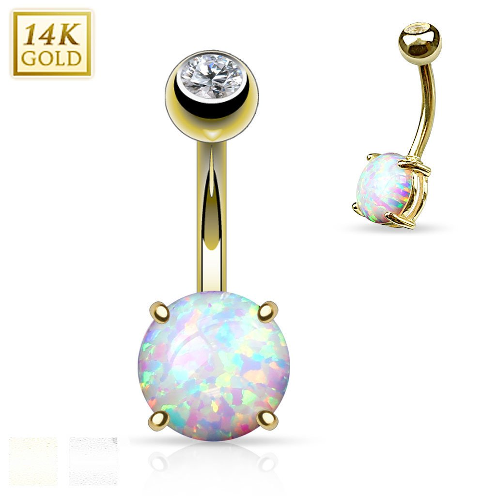 14 Gauge 3/8'' Prong Set 8mm Synthetic Opal Stone 14K Yellow Gold Navel Ring B506