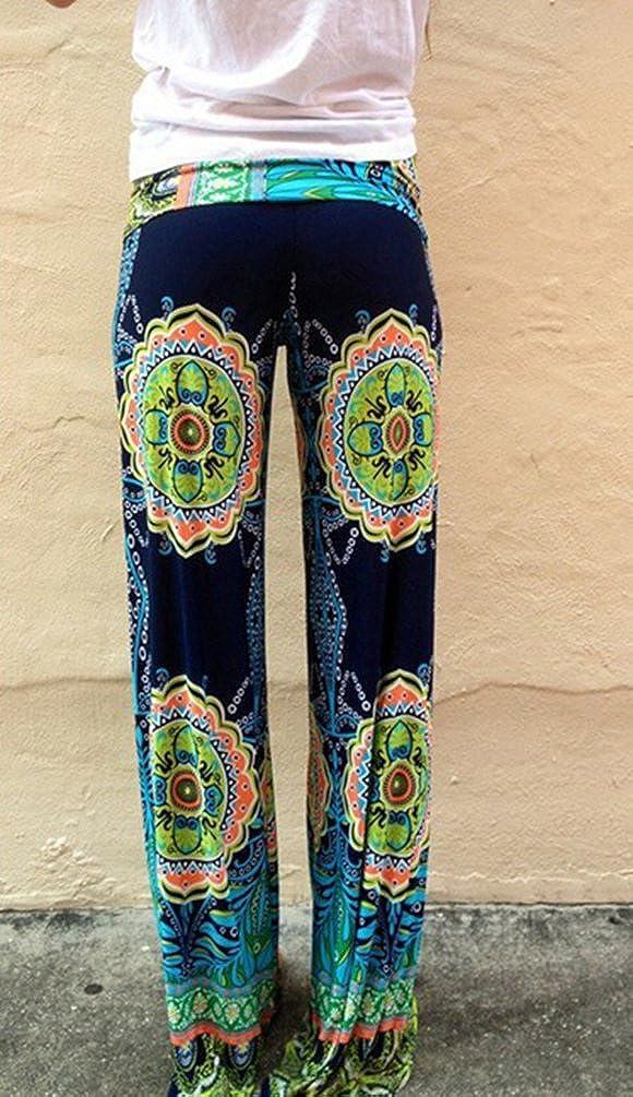 Baymate Mujer Vintage Harem Pantalón Verano Floral Ancho ...