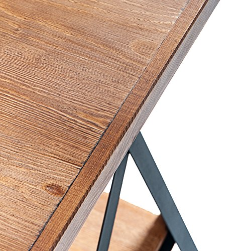 Harper&Bright Designs End Table with Metal Legs, Living Room Set, Solid Wood, Rustic (Brown) by Harper&Bright Designs (Image #7)